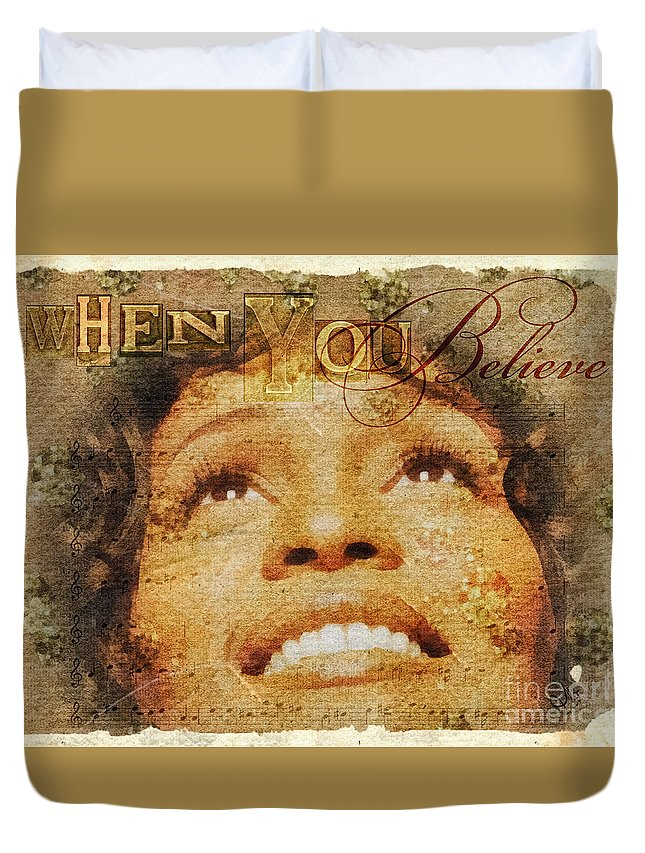 Whitney Houston Duvet Cover featuring the mixed media When You Believe by Mo T