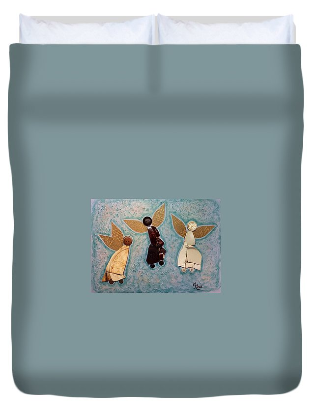 Angels Duvet Cover featuring the mixed media Where All Is Peace And Joy And Love by Carol Neal