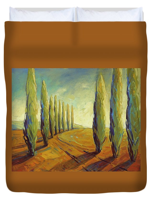 Cypress Duvet Cover featuring the painting Where Evening Begins 1 by Konnie Kim
