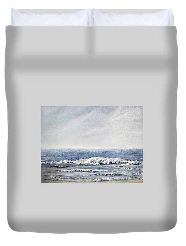 Seascape Duvet Cover featuring the painting Where I Want To Be by Todd Blanchard