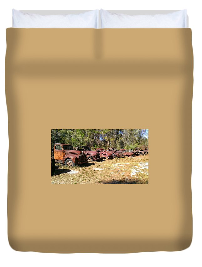 Car Duvet Cover featuring the photograph Where Old Vehicles Go by Lew Davis