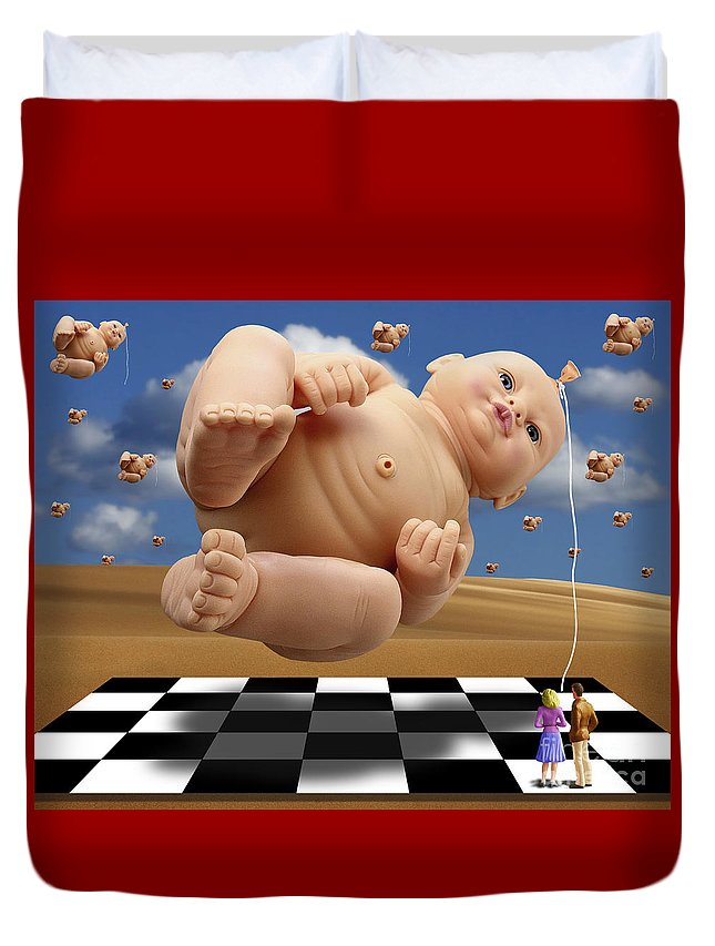 Surreal Digital Art Duvet Cover featuring the digital art Which One by Keith Dillon