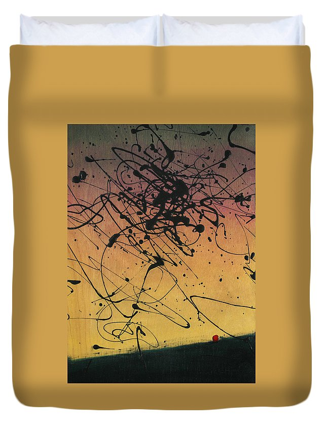 Sisyphus Duvet Cover featuring the painting While Sisyphus Slept by James W Johnson