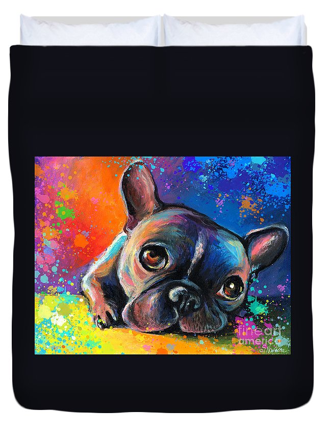 French Bulldog Prints Duvet Cover featuring the painting Whimsical Colorful French Bulldog by Svetlana Novikova