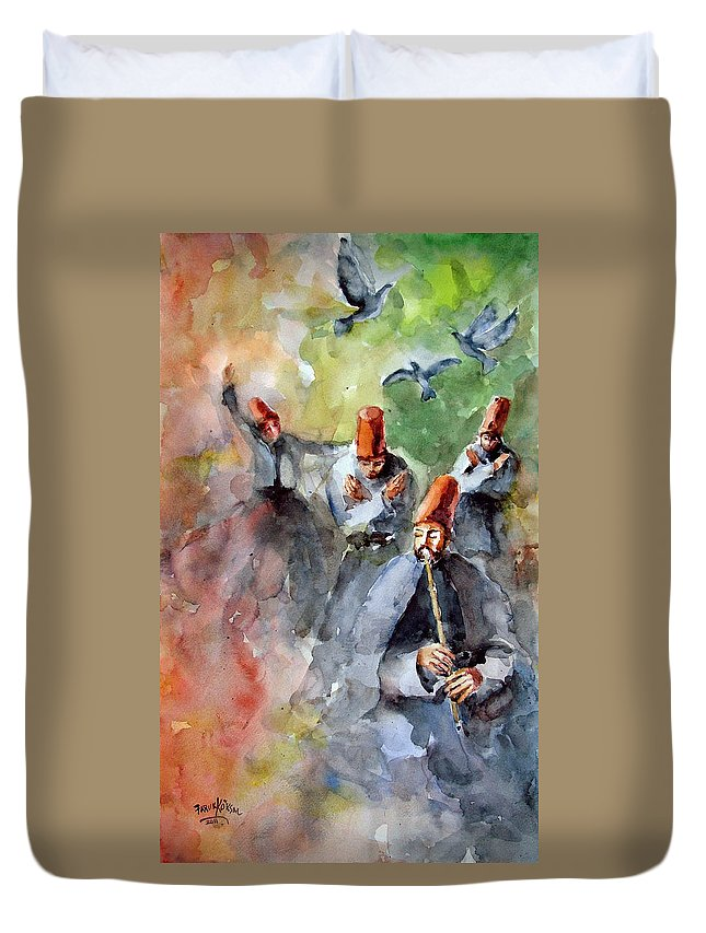 Mevlevi Cult Duvet Cover featuring the painting Whirling Dervishes And Pigeons     by Faruk Koksal