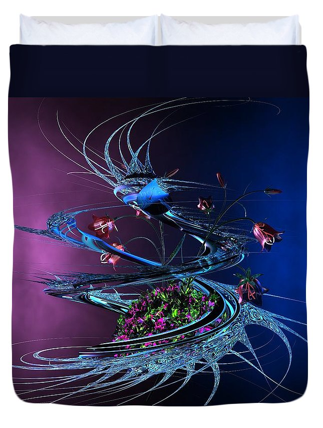 Abstract Duvet Cover featuring the digital art Whirlwind - Abstract by Louis Ferreira