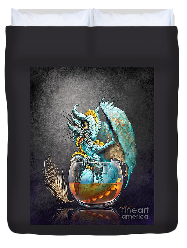 Dragon Duvet Cover featuring the digital art Whiskey Dragon by Stanley Morrison