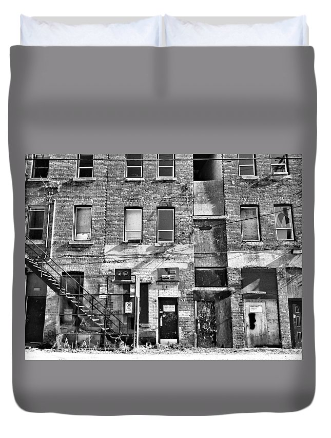 Buildings Duvet Cover featuring the photograph Whispers In The Windows by The Artist Project