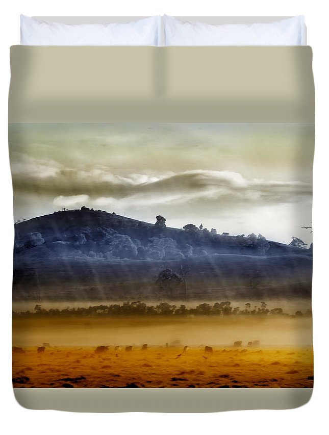 Landscapes Duvet Cover featuring the photograph Whisps Of Velvet Rains... by Holly Kempe