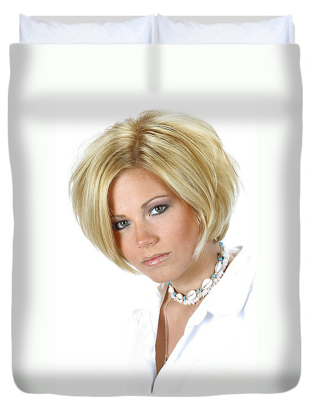 Model Duvet Cover featuring the photograph White 11-crop by Gary Gingrich Galleries
