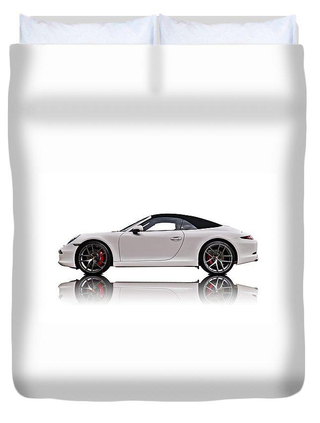 German Duvet Cover featuring the digital art White 911 by Douglas Pittman