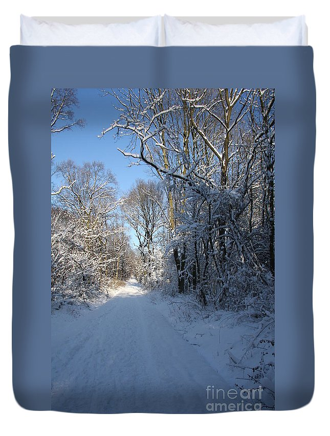 Winter Duvet Cover featuring the photograph White And Blue by Christiane Schulze Art And Photography