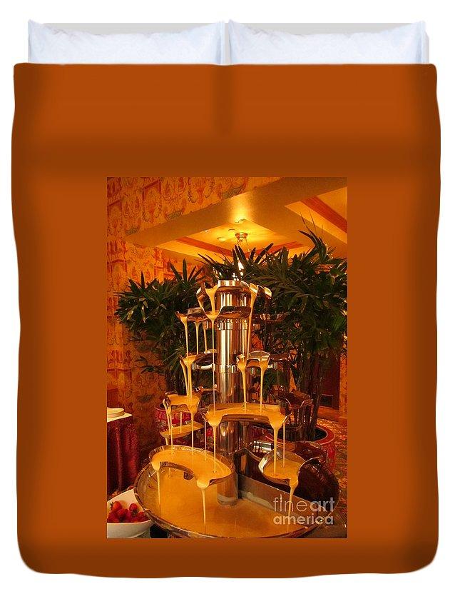 Fondue Fountains Art Duvet Cover featuring the photograph White And Dark Chocolate Fondue Fountain by John Malone
