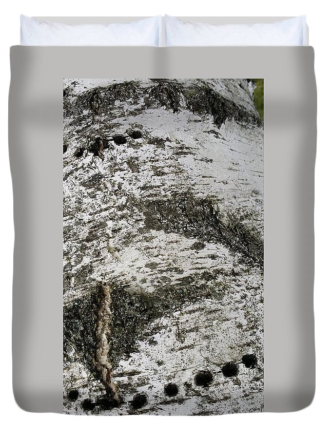 Minimalist Duvet Cover featuring the photograph White Birch Bark Three by Mark Victors