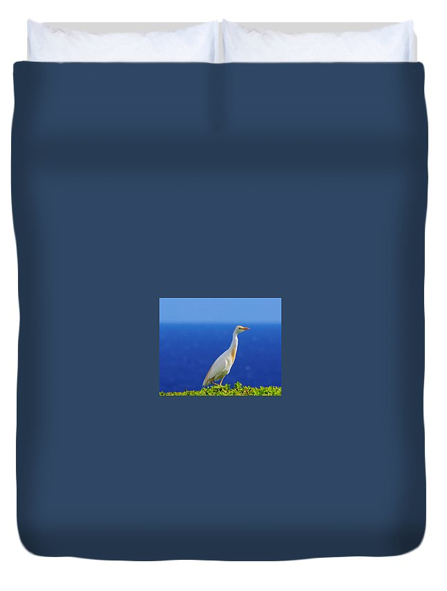 White Duvet Cover featuring the photograph White Bird Green Plants Blue Sea And Sky by John Greaves