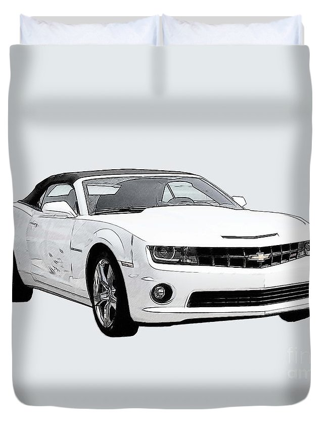 Camaro Duvet Cover featuring the digital art White Camaro by Tommy Anderson