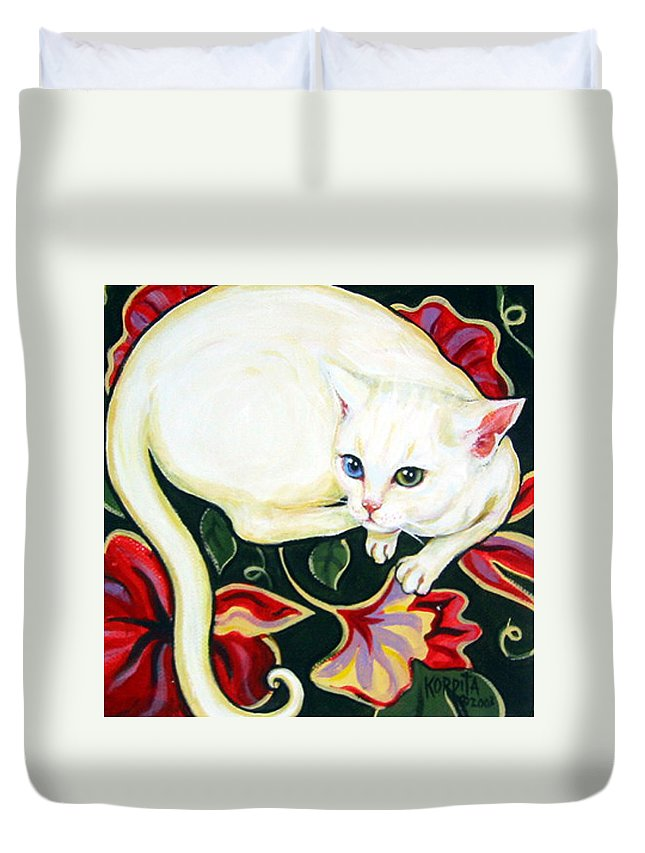 Art Duvet Cover featuring the painting White Cat On A Cushion by Rebecca Korpita