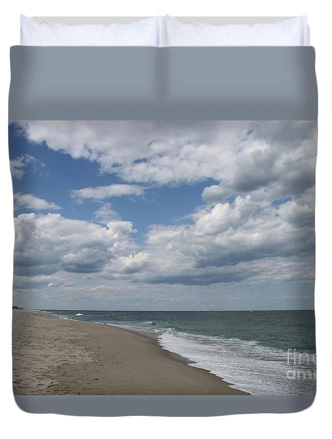 Clouds Duvet Cover featuring the photograph White Clouds Over The Ocean by Christiane Schulze Art And Photography