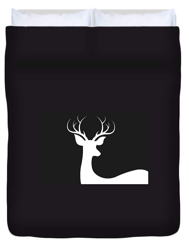 White Deer Silhouette Duvet Cover featuring the digital art White Deer Silhouette by Chastity Hoff