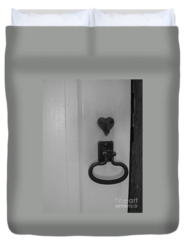 Old Doorknob Duvet Cover featuring the photograph White Door by Nancy Patterson