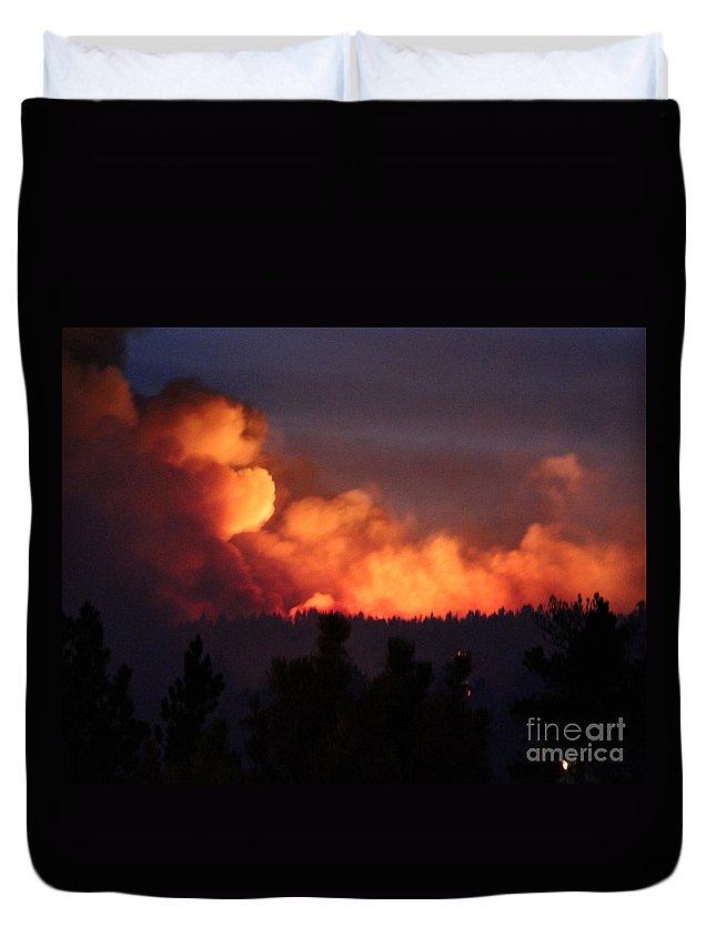 Fire Duvet Cover featuring the photograph White Draw Fire First Night by Bill Gabbert