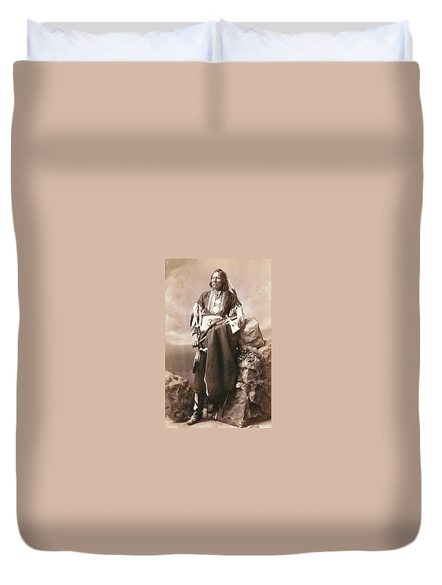 White Eagle Ponca Chief Duvet Cover featuring the digital art White Eagle Ponca Chief by Unknown
