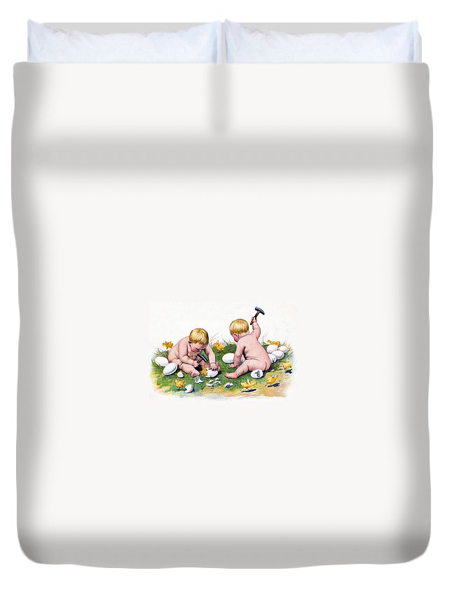 Easter Duvet Cover featuring the photograph White Eggs by Munir Alawi