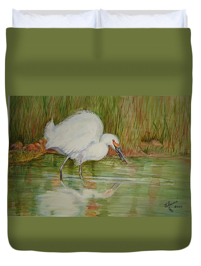 Egret Duvet Cover featuring the painting White Egret Wading by Charme Curtin