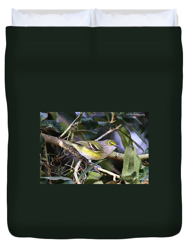 White-eyed Vireo Duvet Cover featuring the photograph White-eyed Vireo by Barbara Bowen