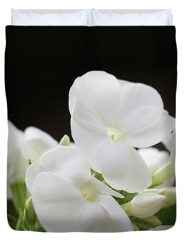 White Duvet Cover featuring the photograph White Flowers 3 by Carol Lynch