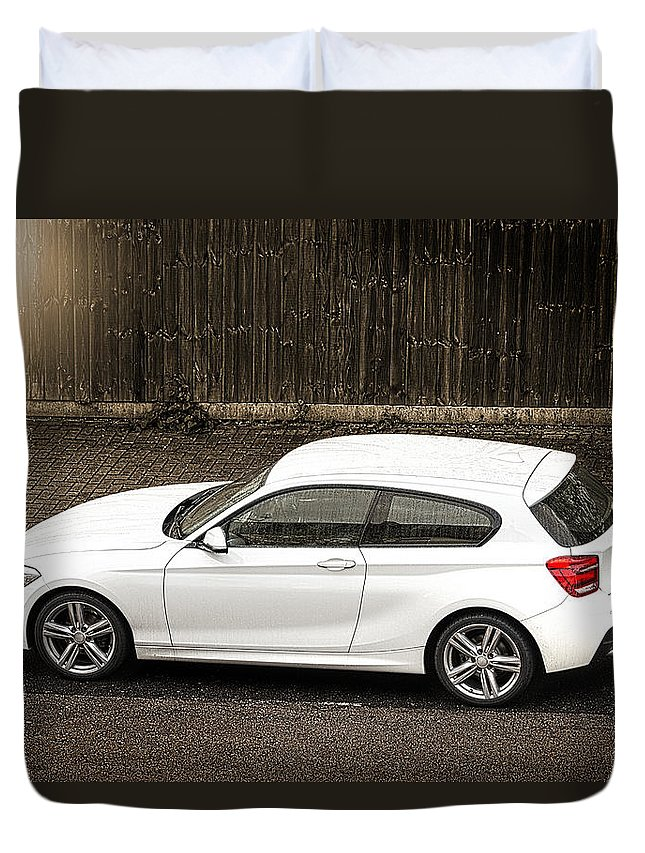 Street Duvet Cover featuring the photograph White Hatchback Car by Dutourdumonde Photography