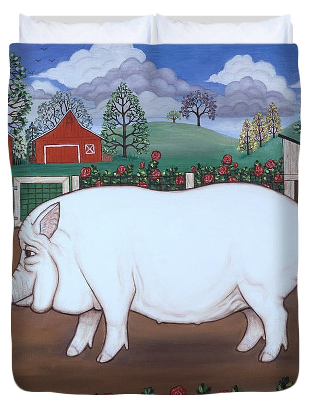 Folk Art Barnyard Duvet Cover featuring the painting White Hog And Roses by Linda Mears