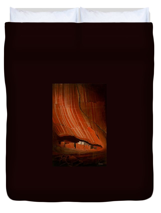 Canyon De Chelly Duvet Cover featuring the painting White House Ruins Illuminated by Jerry McElroy