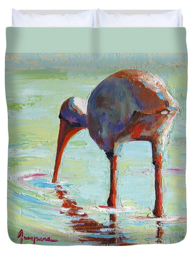 Bird Painting Duvet Cover featuring the painting White Ibis Everglades Bird by Patricia Awapara