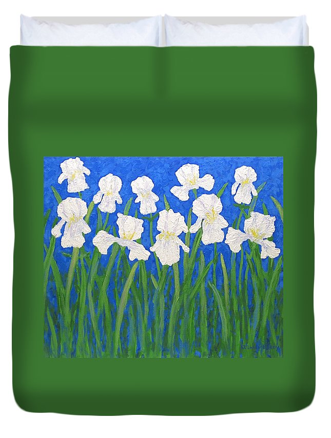 Iris Paintings Duvet Cover featuring the painting White Irises by J Loren Reedy