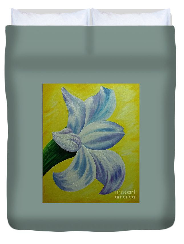 Flower Duvet Cover featuring the painting White Lilly by Barbara Stanley