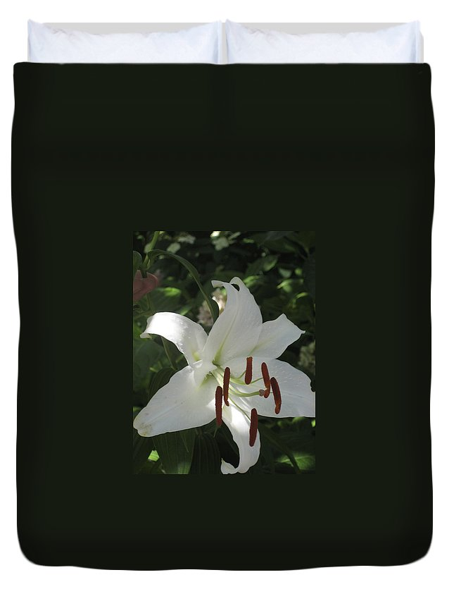 Flowers Duvet Cover featuring the photograph White Lily by Hope VanCleaf