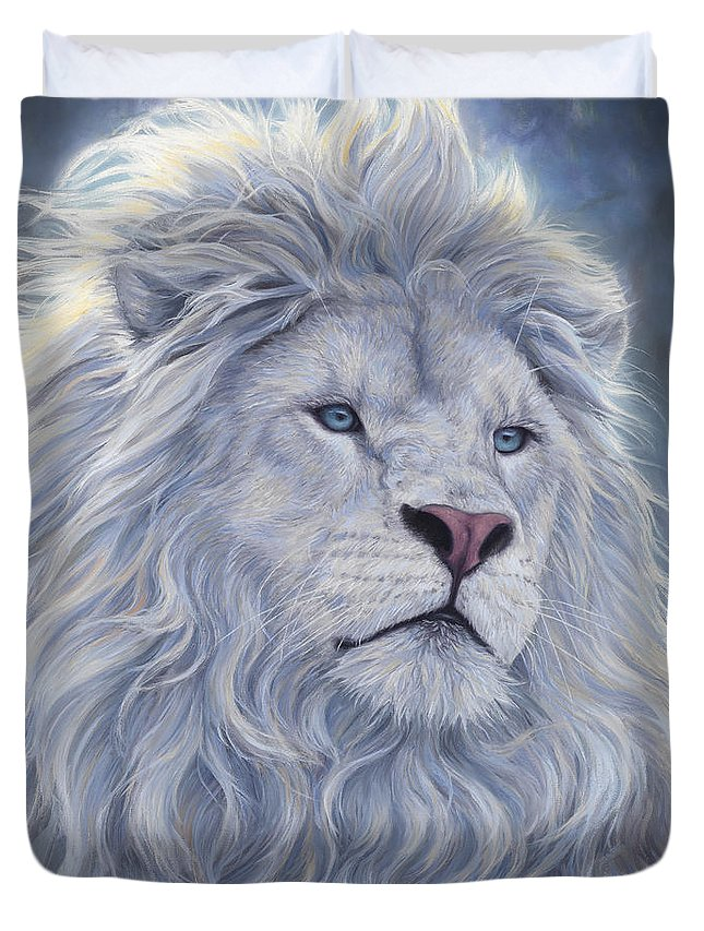 White Lion Duvet Cover featuring the painting White Lion by Lucie Bilodeau