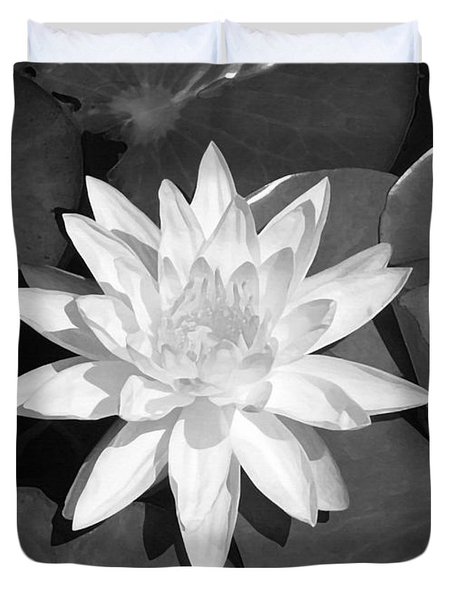 White Lotus Duvet Cover featuring the painting White Lotus 2 by Ellen Henneke