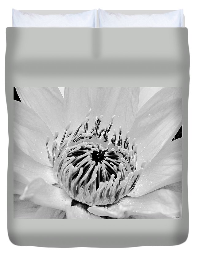 White Lotus Bw Duvet Cover featuring the photograph White Lotus Bw by Maria Urso