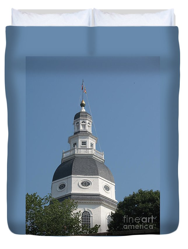 State House Duvet Cover featuring the photograph White Maryland State House Cupola Against Blue - Annapolis by Christiane Schulze Art And Photography