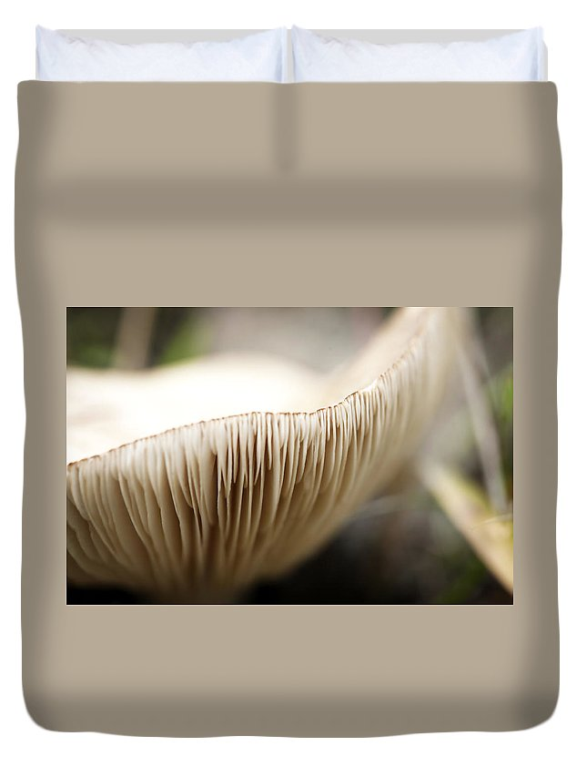 Soft Duvet Cover featuring the photograph White Mushroom Gills Closeup by Marilyn Hunt