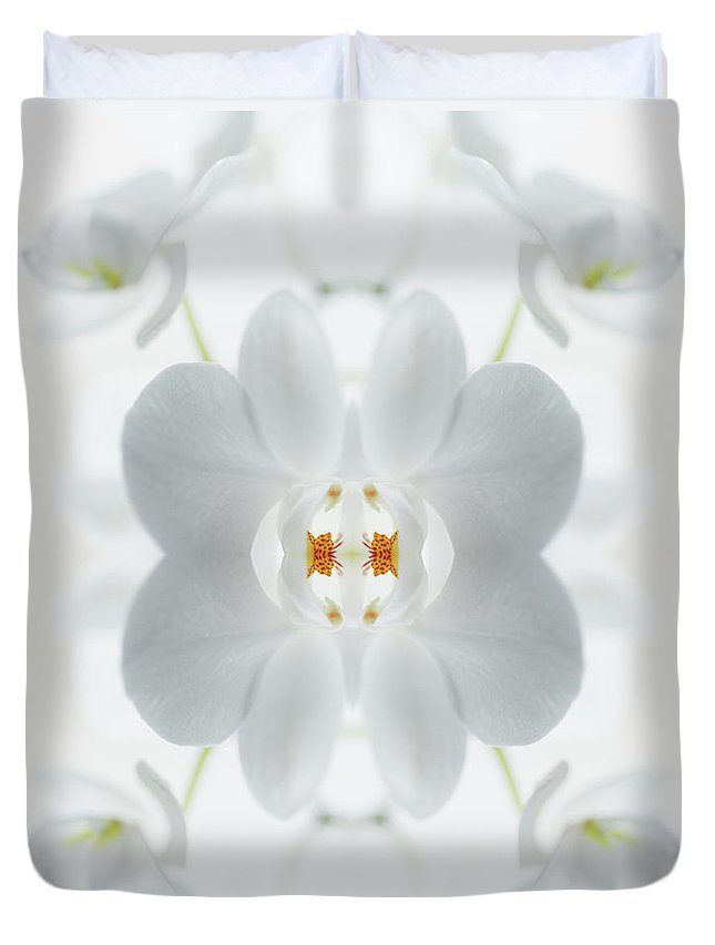 Tranquility Duvet Cover featuring the photograph White Orchid Flower by Silvia Otte