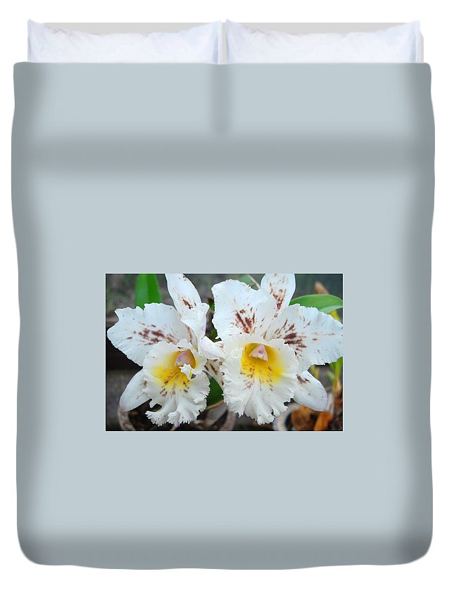 Kula Botanical Gardens Duvet Cover featuring the photograph White Orchids by Amy Fose