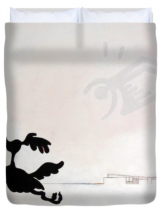 Palm Springs Duvet Cover featuring the painting White Palm Springs Idyll by Stan Magnan