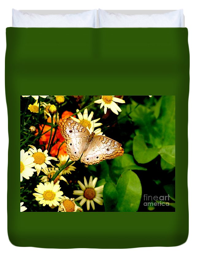 White Peacock Butterfly Duvet Cover featuring the photograph White Peacock Butterfly I I I by Marilyn Smith