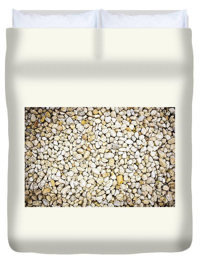 Abstract Duvet Cover featuring the photograph White Pebbles by Tim Hester