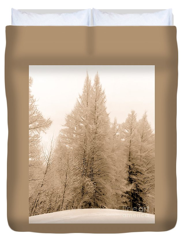 White Pines Duvet Cover featuring the photograph White Pines by Optical Playground By MP Ray