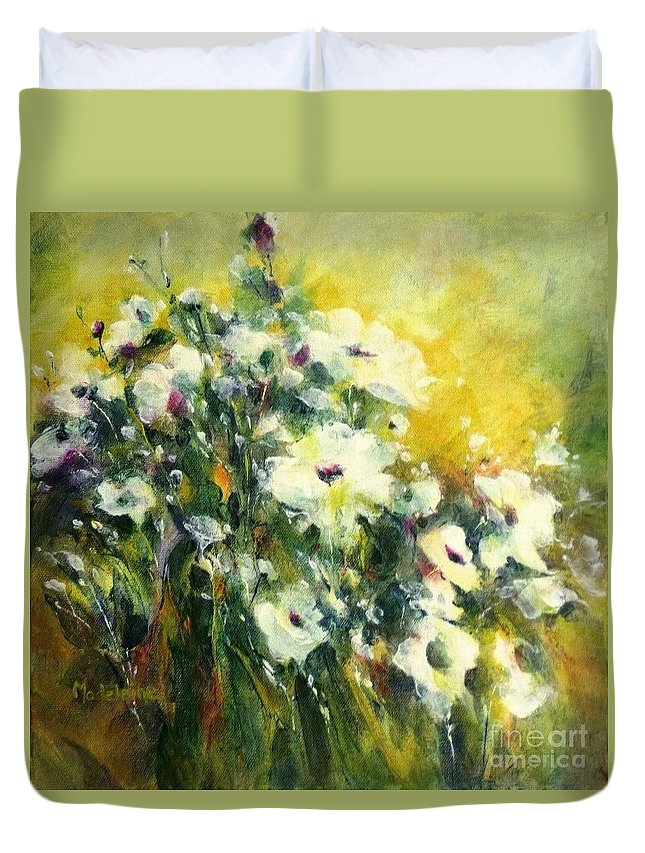 Canvas Prints Duvet Cover featuring the painting White Poppy Garden II by Madeleine Holzberg