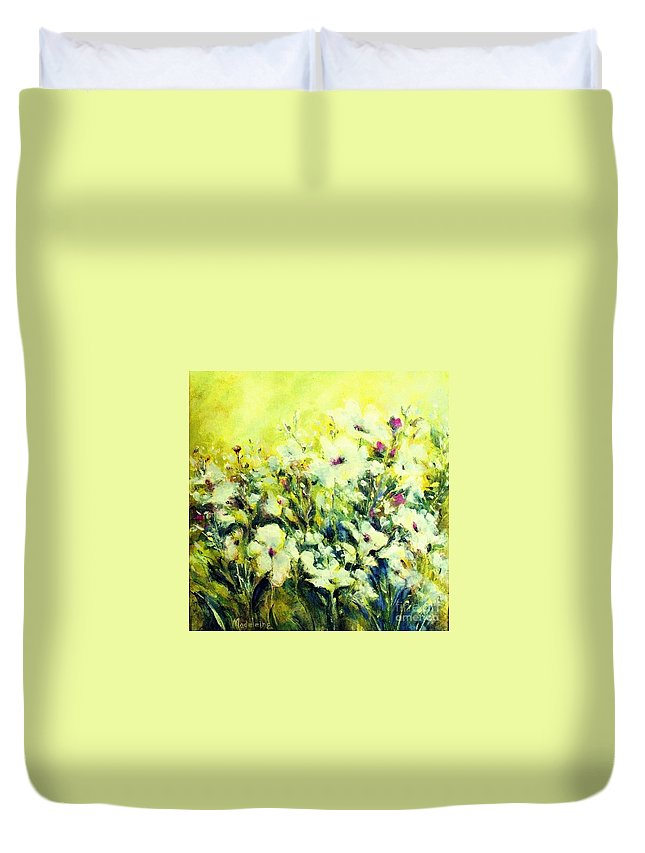 Flowers Duvet Cover featuring the painting White Poppy Garden by Madeleine Holzberg